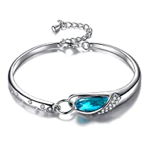 Wonvin Women Crystals Bangle Bracelets White Gold Plated Adjustable Hinged Jewelry