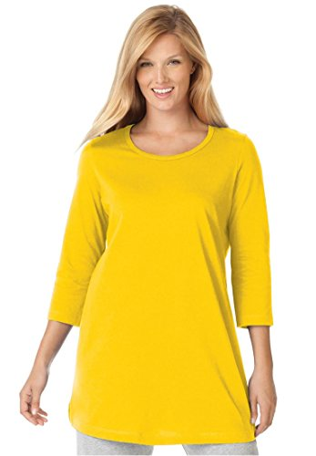 Womens Plus Size Perfect Knit Tunic Shirt In Pure Cotton With Scoop Neck  3 4