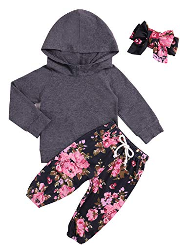 Set Legging Floral Cotton (Baby Girls Clothes Long Sleeve Grey Hoodie Tops Flowers Pants Outfits with Headband Clothes Set(0-6 Months))
