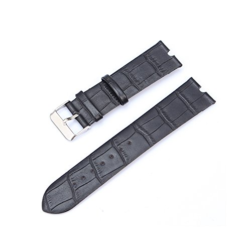 (Aenmil 22mm Padded Leather Watch Strap Made of Calf Leather with Alligator Grain Pattern Genuine Cowhide Leather Watch Band Compatible with the Motorola Moto 360 Smart Watch (Black))