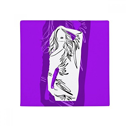 Purple Plump Long Hair Woman Anti-slip Floor Pet Mat Square Home Kitchen Door 80cm Gift by DIYthinker