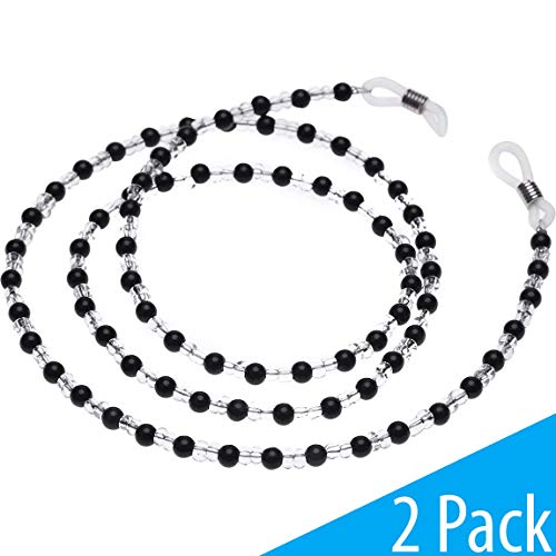 (Onwon 2 Pieces Beaded Eyeglass Chain Cords - Crystal Beads Beaded Sunglass Chain Holder Eyewear Lanyard Strap Necklace)