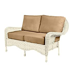Prospect Hill Wicker Deep Seating Love Seat with Cushions - Cloud White Wicker With Sand Cushions