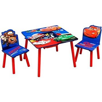 Disney Cars Design Featuring Lightning McQueen Table With Storage  Compartment And 2 Chairs Set