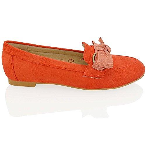 ESSEX GLAM Damen Flache Schuhe Ballerina Freizeit Pumps Schlupfschuhe Orange Wildlederimitat