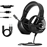 Gaming Headset for PS4 Nintendo Switch, ONIKUMA Gaming Headsets with Mic for PC Xbox One Mac Bass Surround Sound Over Ear Headphone with Noise Cancelling Microphone/Soft Memory Earmuffs/RGB Lights