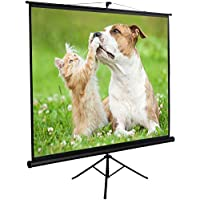 ZENY Projection Screen Manual Pull Up Projector with Stand 100 Diagonal, Projector 4:3 HD Fortable Stand and Tripod, Suitable for HDTV/Sports/Movies/Presentations