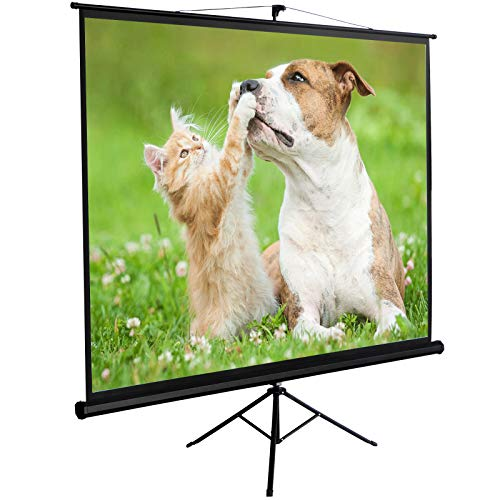 ZENY Projection Screen Manual Pull Up Projector with Stand 100'' Diagonal, Projector 4:3 HD Foldable Tripod Stand Suitable for HDTV/Sports/Movies/Presentations