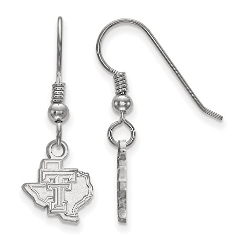 925 Sterling Silver Officially Licensed Texas Tech University College Mini Small Dangle Wire Earrings by Mia's Collection
