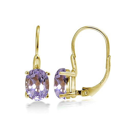 Yellow Gold Flashed Sterling Silver Amethyst 8x6mm Oval Leverback Earrings -