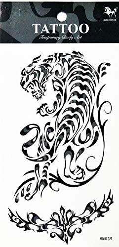 PP TATTOO 1 Sheet Fashionable Natural Tigers cat Jaguar Lion Panther Animal Cartoon Temporary Tattoos Sticker for Women Men Fashion Design Body Art Adults Waterproof Chest Shoulder Arm Hand Realistic