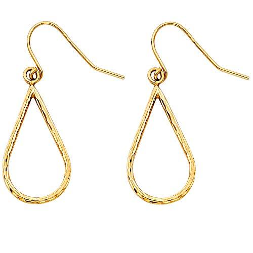 14k Yellow Gold Diamond-cut Openwork Teardrop Dangle Earrings