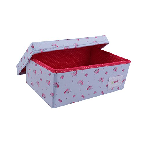 Minene 21112, Small Foldable Fabric Storage Box, Blue with Red Flowers, 13 x 21 x 12 cm
