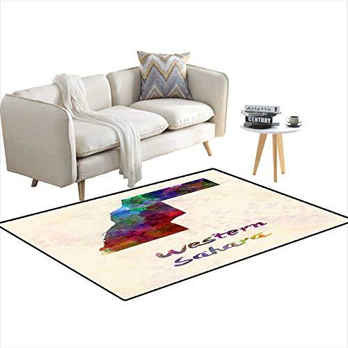 Kids Carpet Playmat Rug Western Sahara in Watercolor 3'x5'