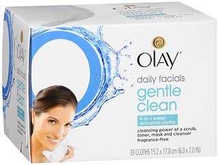 OLAY Daily Gentle Clean 4-in-1 Water Activated Cloths, 33 Ea (Pack of 5)