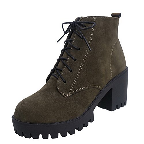 AmoonyFashion Womens Round Closed Toe High-Heels Frosted Ankle-High Solid Boots Darkgreen xLDGPl