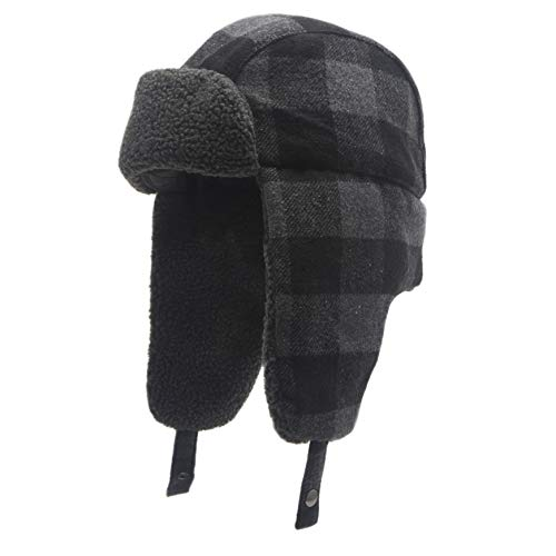 Heat Edge Warm Sherpa Trapper Hat with Fleece Lining & Ear Flaps - Aviator Russian Ushanka Hat (Black, Size L/X)