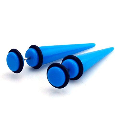 0g (8mm) Blue Acrylic Fake Cheater Plug Spike Tunnel Expander Blue Acrylic Spike