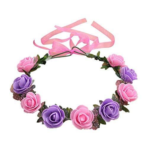 17 Colors Travel Bridal Artificial Foam Rose Flower Wreath Ribbon Headpiece (Color - 13# Pink+Purple)