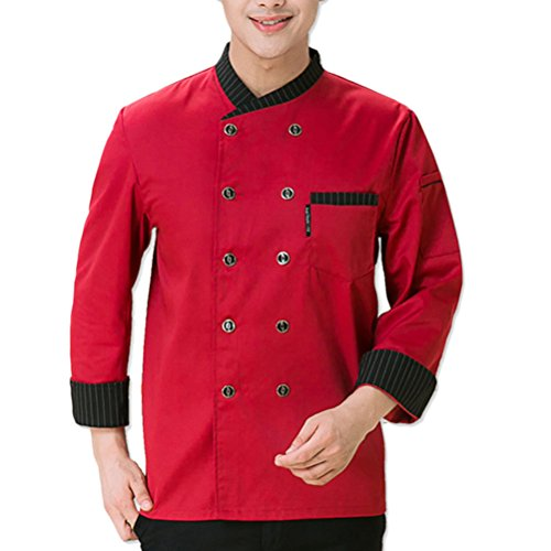 Long 3 Chefs Sleeve Top Colors Jacket Uniform Comfortable Unisex Zhhlinyuan Button Rojo Bqw0a7f7