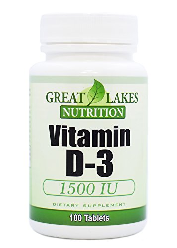 Vitamin D-3 with High Potency 1,500 IU | Regulates Immune Function, Supports Healthy Bones | 100 Count by GL Nutrition