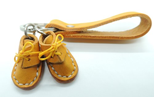 Miniature Handmade Genuine Leather Boots or Shoes Key Chain Key Ring Key holder (Light Brown)