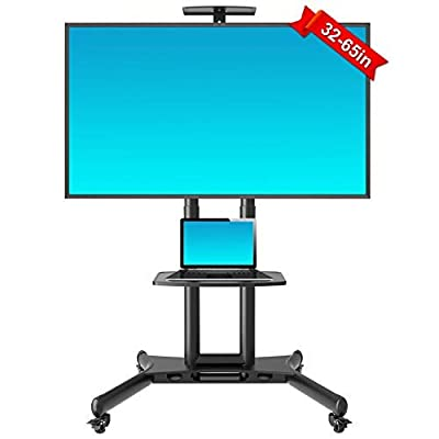 Image of Rolling TV Cart with Wheels Flat Screen TV, Mobile TV Stand for 32-65 Inch LED LCD OLED Flat Screen, Plasma TVs TV Monitors