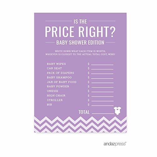 Andaz Press Lavender Chevron Girl Baby Shower Collection, Games, Activities, Decorations, Is the Price Right Game Cards, 20-pack