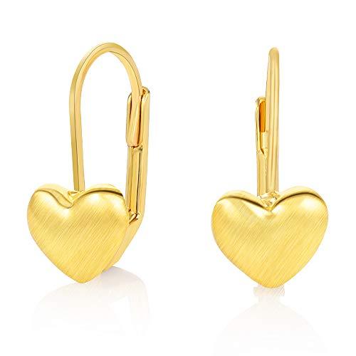 Heart Leverback Earrings - Kemstone Gold Tone Heart Leverback Earrings Women Fashion Jewelry