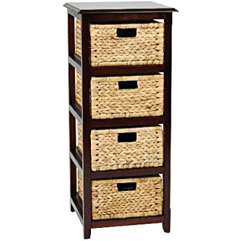 Office Star Seabrook 4 Tier Storage Unit With Natural Baskets, Espresso  Finish
