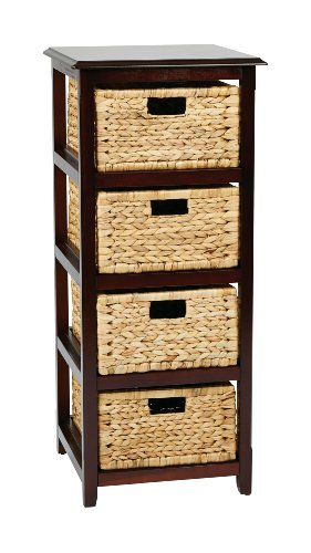 OSP Designs SBK4514A-ES Office Star Seabrook 4-Tier Storage Unit with Natural Baskets, Espresso