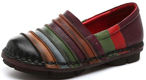 Satuki Handgemaakte Loafer Schoenen Voor Vrouwen, Leren Casual Instapper Voor Pastorale Schoenen Zwart