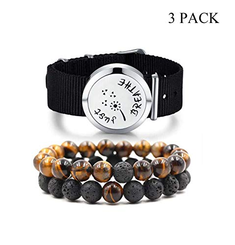 Mesinya 3 Pack Aromatherapy Essential Oil Diffuser Bracelet Jewelry Gift Set for Men Natural Lava Rock Beads/Tiger Eye/Stainless Steel Locket Canvas Band