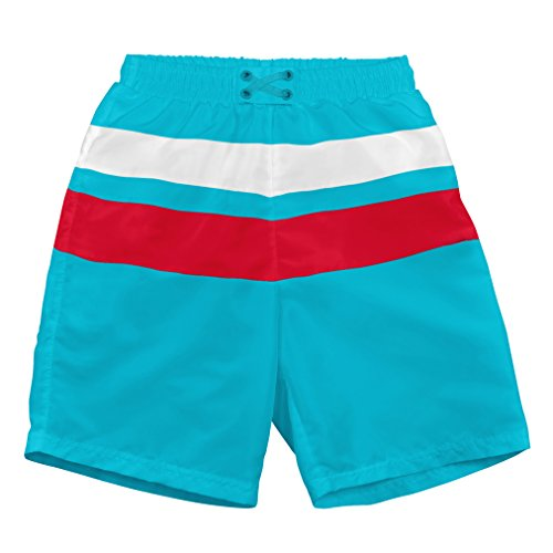i play Boys' Colorblock Trunks with Built-in Reusable Absorbent Swim Diaper, Aqua/Red/White, 3/6mo