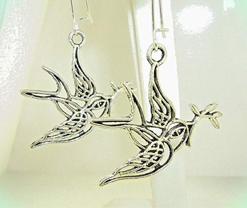 cut-out DOVE of PEACE with Olive Branch Silver-tone Dangle Earrings 2