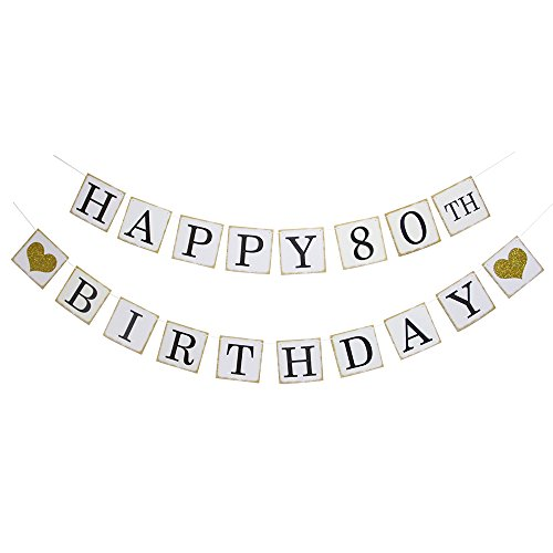 Happy 80th Birthday Banner - Gold Glitter Heart for 80 Years Birthday Party Decoration Bunting White ()