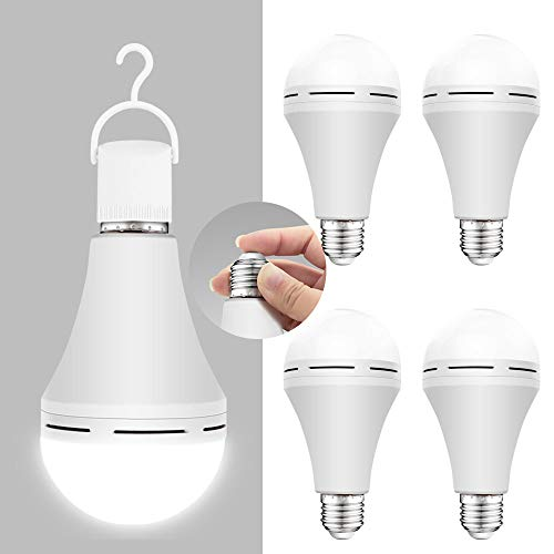 4 Pack Emergency-Rechargeable-Light-Bulb, Stay Lights Up When Power Failure, 1200mAh 15W 80W Equivalent 6000K Battery Operated Light Bulb for Home, Camping, Tent (E27, with Hook)