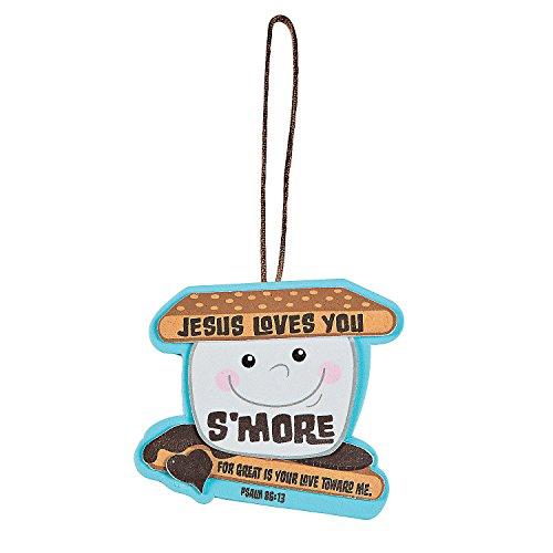 Fun Express - Jesus Loves You S'More Ornament CK- 12 - Craft Kits - Ornament Craft Kits - Foam - 12 Pieces -