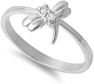 Petite Dainty Dragonfly Ring Round Cubic Zirconia Solid 925 Sterling Silver 3-12