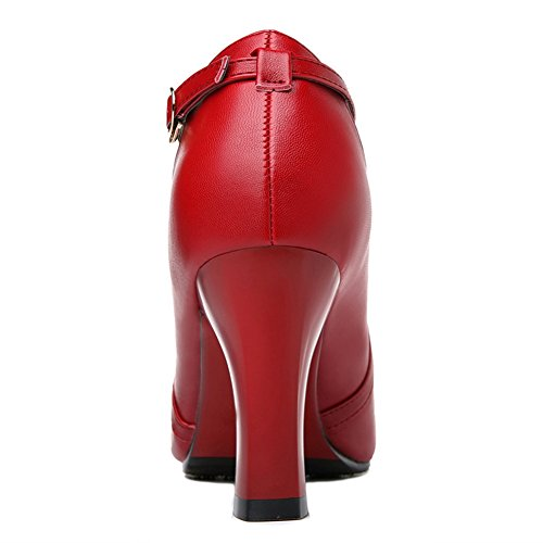 Chic Red Buckle MAC Pointy Heels High U Stylish Chunky Toe Walking Strip Women Shoes P1Ux0Onw