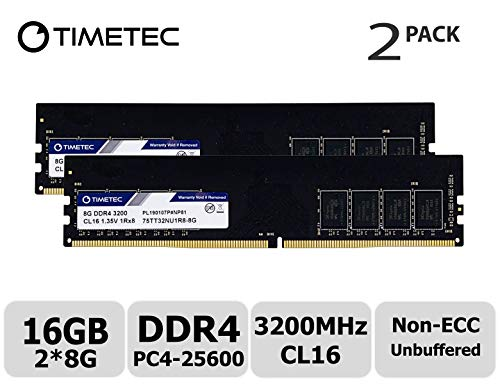 Timetec Extreme Performance Hynix IC 16GB KIT(2x8GB) DDR4 3200MHz PC4-25600 CL16 1.35V Unbuffered Non-ECC for Gaming and High-Performance Compatible with AMD and Intel Desktop Memory (16GB KIT(2x8GB))