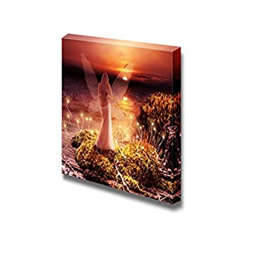 Fairy with Transparent Wings Standing on Green Island in Lake and Watching The Sunset - Canvas Art Wall Art - 24