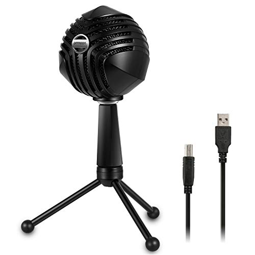 ammoon USB Condenser Microphone Ball-Shaped Mic with Desktop Mini Metal Tripod Stand for PC Laptop Playing Games Computer Studio Recording Singing Broadcast ()