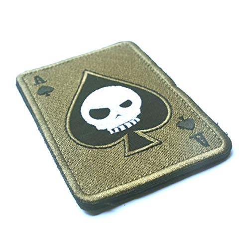 Death Card Rectangular Patch Embroidery Spade A Poker Tactical Patch Badge
