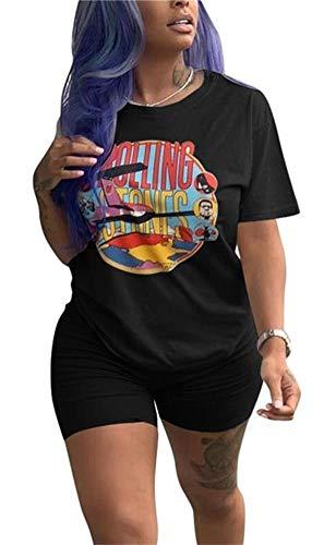 Lucuna Women Sportwear 2 Piece Outfits Round Neck Short Sleeve Cartoon Printed T-Shirt Short Pants -