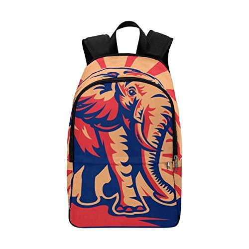 InterestPrint African Bull Elephant Charging Done Lightweight Canvas Bookbags for School Teen Girls