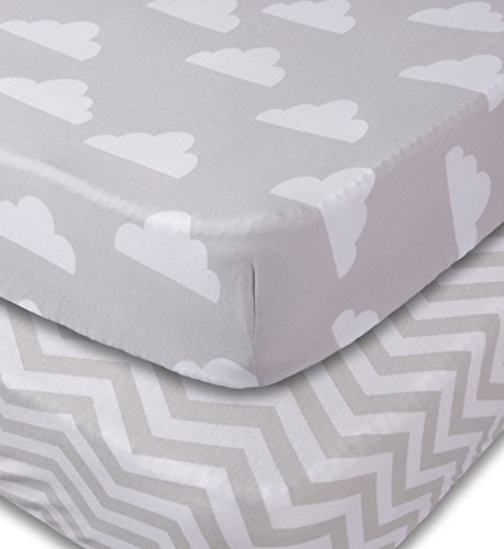 Crib-Sheets-2-Pack-Fitted-Soft-Jersey-Cotton-Sheet-Bedding-with-Unisex-Clouds-and-Chevron-Custom-Design-Fits-Standard-Mattress-for-Babies-and-Toddlers