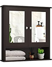 DORTALA Mirrored Bathroom Cabinet, Wall Mounted Medicine Cabinet w/Double Mirror Doors & Adjustable Shelf, Multipurpose Storage Cabinet Home Organizer for Hallway Living Room Kitchen