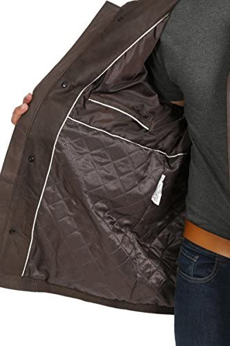 Mens Real Leather Parka Car Coat Classic Winter Overcoat M2 Brown