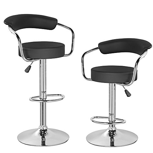 KERLAND PU Leather Swivel Adjustable Seat Height Home Kitchen Bar Stool Chair With Padded Back And Chrome Footrest (set of 2), Black